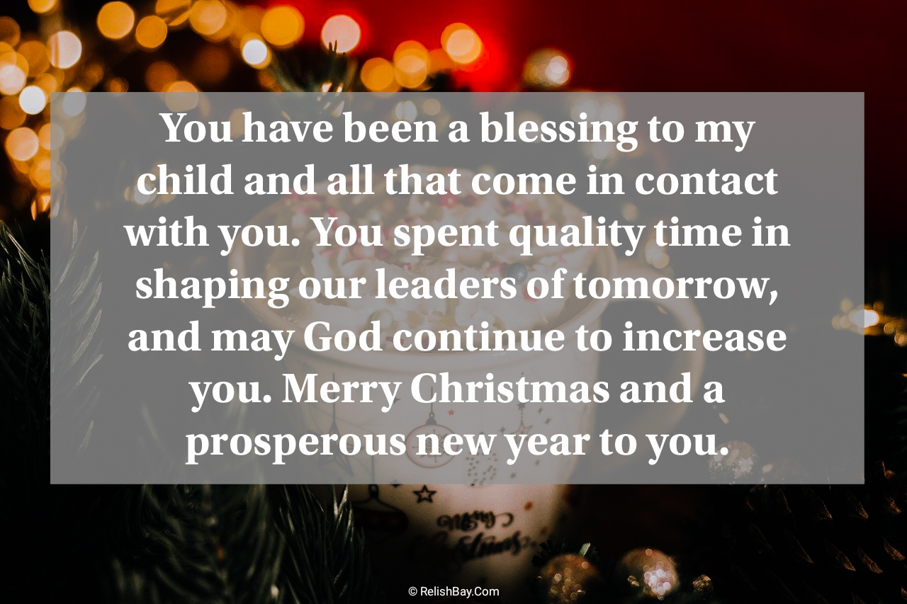Lovely Christmas Wishes for Teachers from Parents