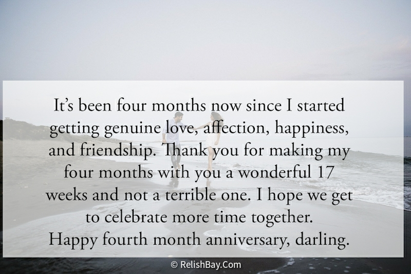 4 Months Anniversary Paragraphs for Him