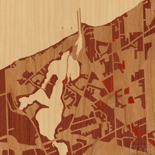 Woodcut Custom Wood-Inlay Maps